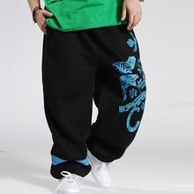 Размера плюс 5XL Большие мужские брюки в стиле хип-хоп брюки хлопковые с принтом Мужские Зимние очень большие мужские брюки 4 цвета