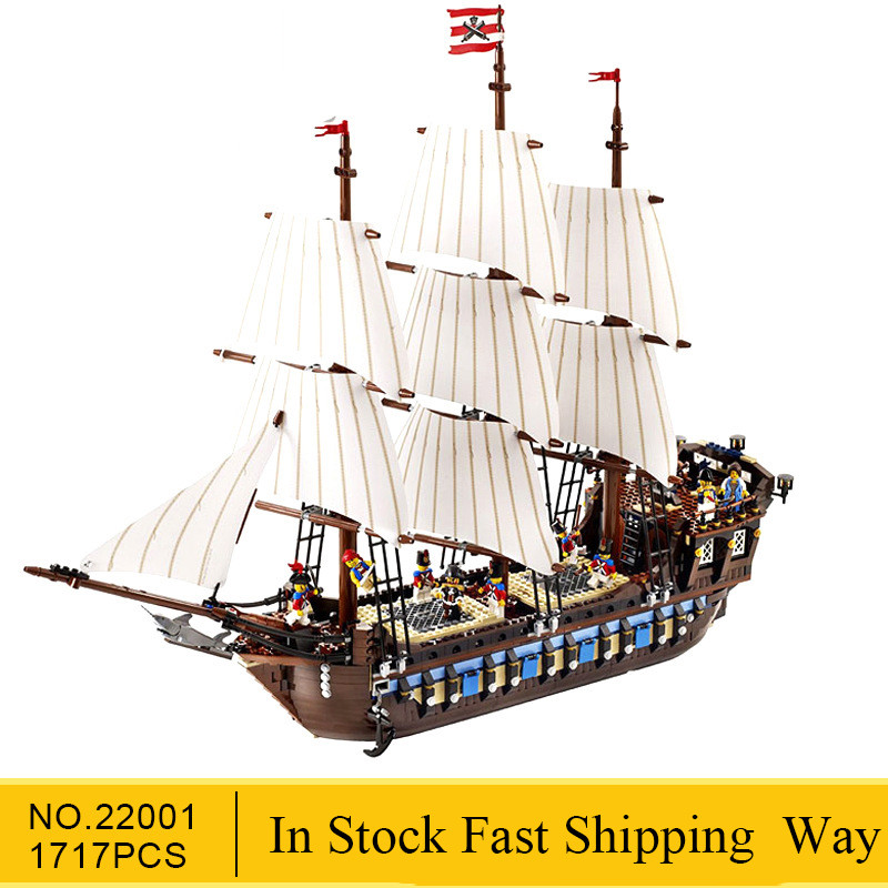 IN Stock!! 22001 Pirate Ship Warships Model Building Kits Block Briks Boy Educational Toys Model Gift 1717pcs Compatible 10210