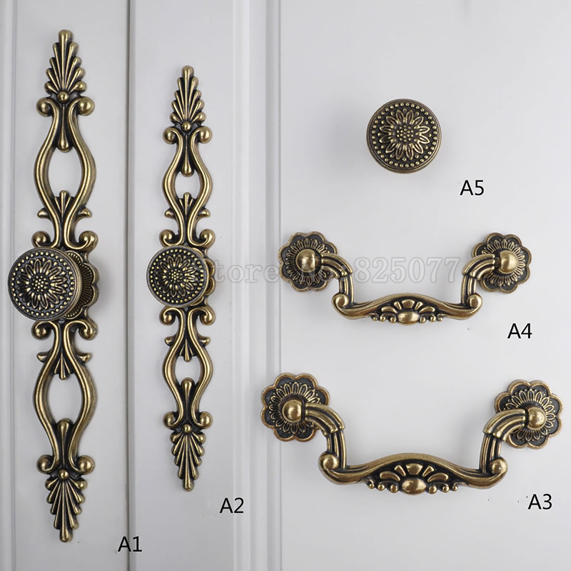 8PCS 3 Colors Wardrobe Knobs Wine Cabinet Drawer Furniture Cupboard Kitchen Cabinet Door Pulls Handles and Knobs JF1406 antique european furniture handles cabinet handle door drawer circular copper