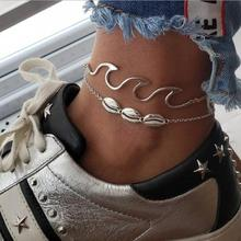 Retro fashion style 2 pieces beach wave spray alloy shell anklet chain wooden beads simulation pearl starfish charm anklet brace retro style turquoise beads cut out carved alloy anklet for women