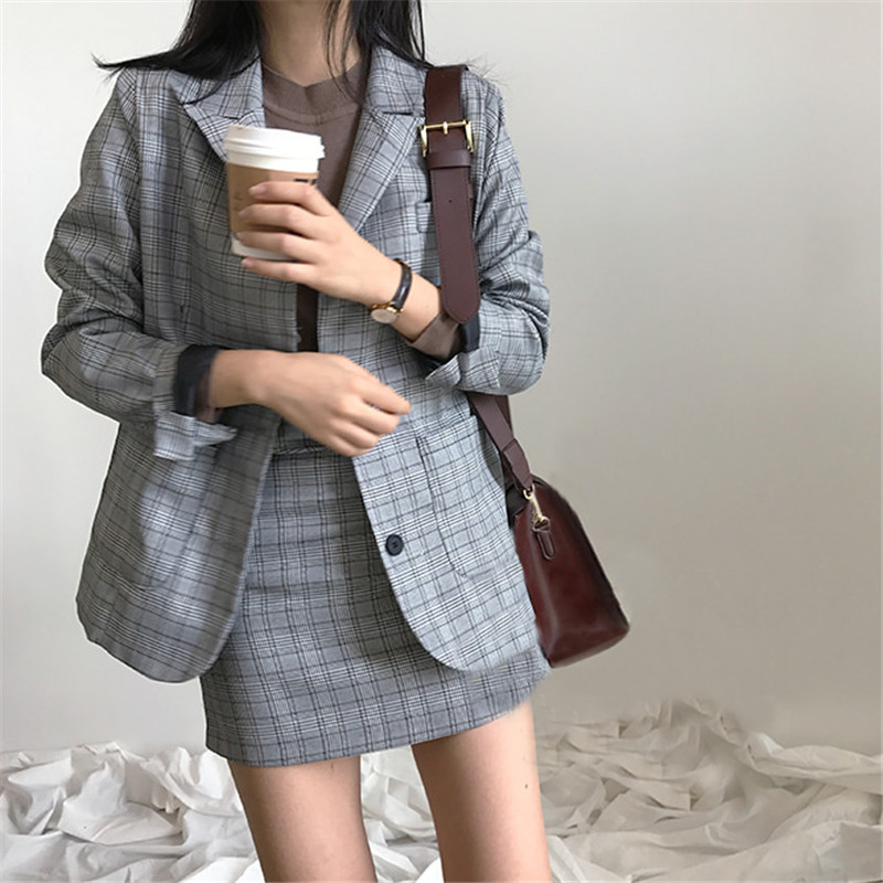 CBAFU Korea Chic Blazer Coat Plaid Mini Skirt Suit Women Jacket Suit Office Lady Jacket High Waist Skirt 2 Piece Set Women N899