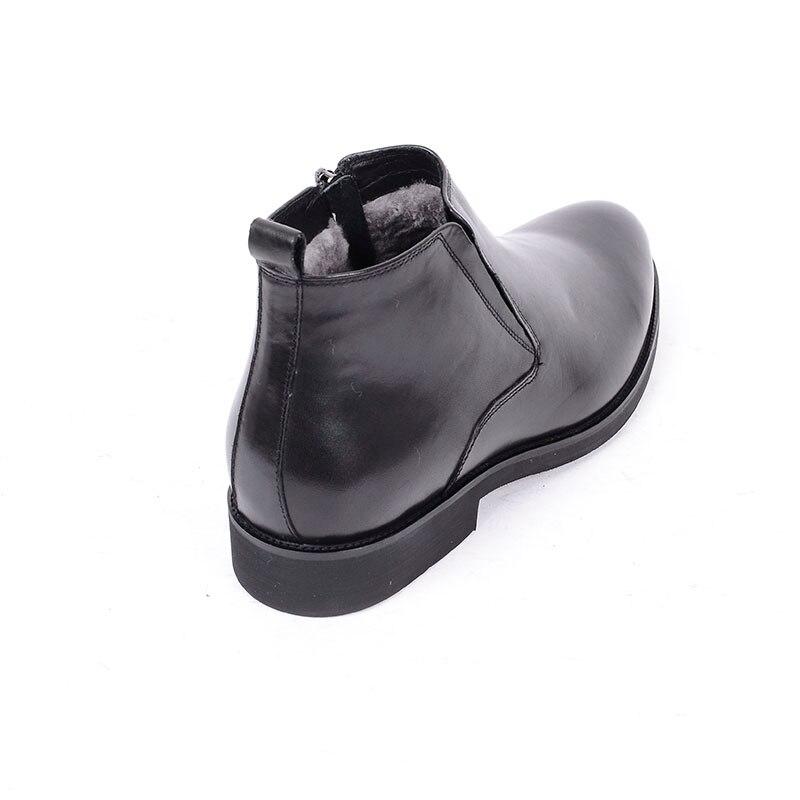 Botas Genuino Tobillo Punta Con Cuero Hombre Piel De Boda Redonda Para Negra Zapatos Cremallera Negocios Formal Black Lujo Grimentin fqFdSf