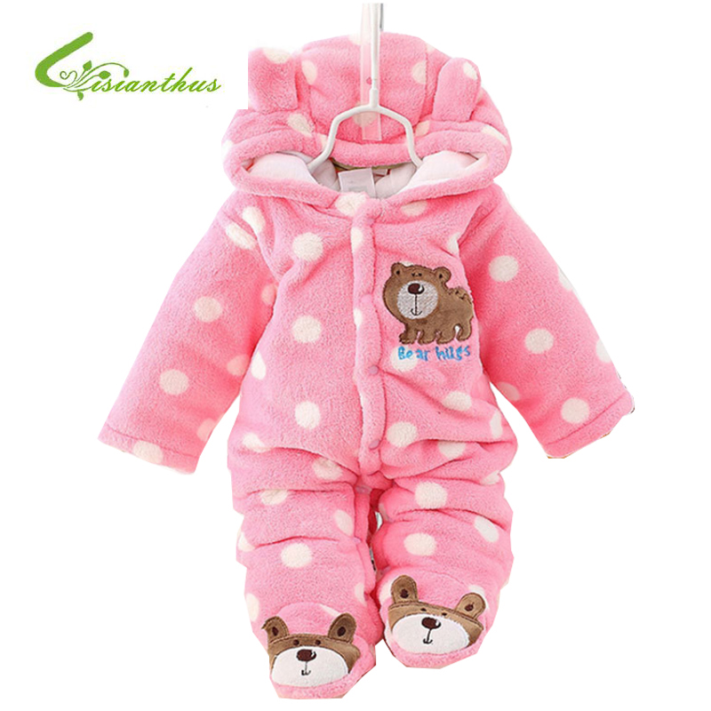 2017 New Autumn Winter Baby Romper Cotton Padded Thick Newborn  Girls Boys Warm Jumpsuit Baby Long Sleeve Hooded Infant Clothing warm thicken baby rompers long sleeve organic cotton autumn