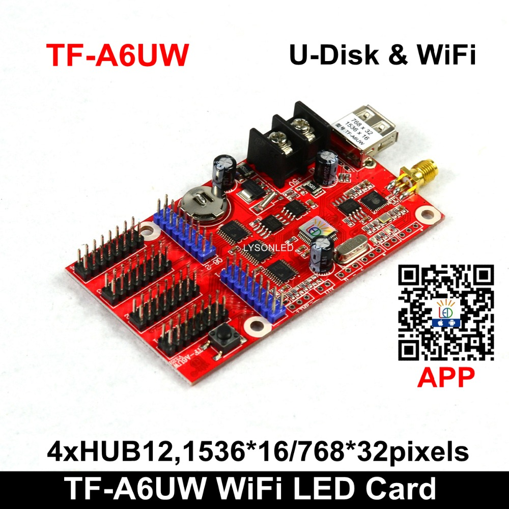Speicial Offer LongGreat TF-A6UW WIFI And USB Driver Wireless LED Display Controller, F3.75 F5.0 P10 LED Sign Board Card