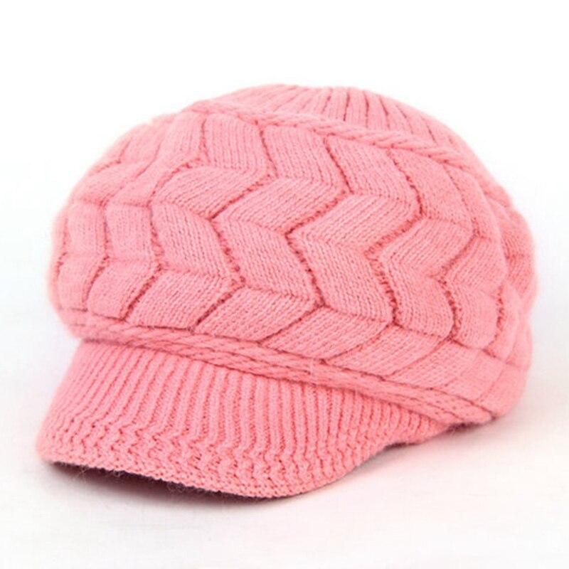 Fashion Elegant Women s Knitted Hats Brim Cap Beanie Bonnet Femme Hiver  Ladies Female Fashion Skullies Warm Winter Hat-in Skullies   Beanies from  Apparel ... f76790b5cd10