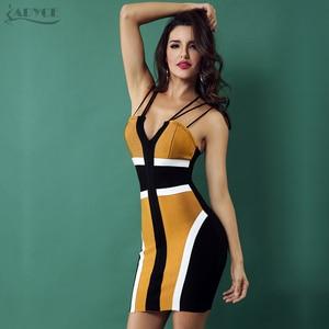 Image 5 - ADYCE 2020 Women Bandage Dress Celebrity Party Club Dress Sexy Spaghetti Strap V Neck Backless Sleeveless Bodycon Dress Vestidos