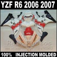 100% Fit for YAMAHA R6 fairing kit 06 07 Injection moldingwhite red black 2006 2007 YZF R6 fairings