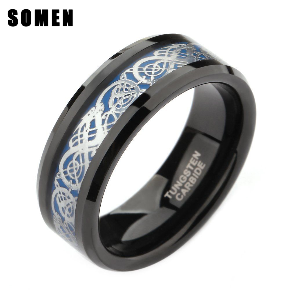 Somen Ring Men 8mm Black Tungsten Ring Celtic Dragon Inlay Polished Male Engagement Rings Cool Jewelry Friend Gifts Anel Hombre in Wedding Bands from Jewelry Accessories