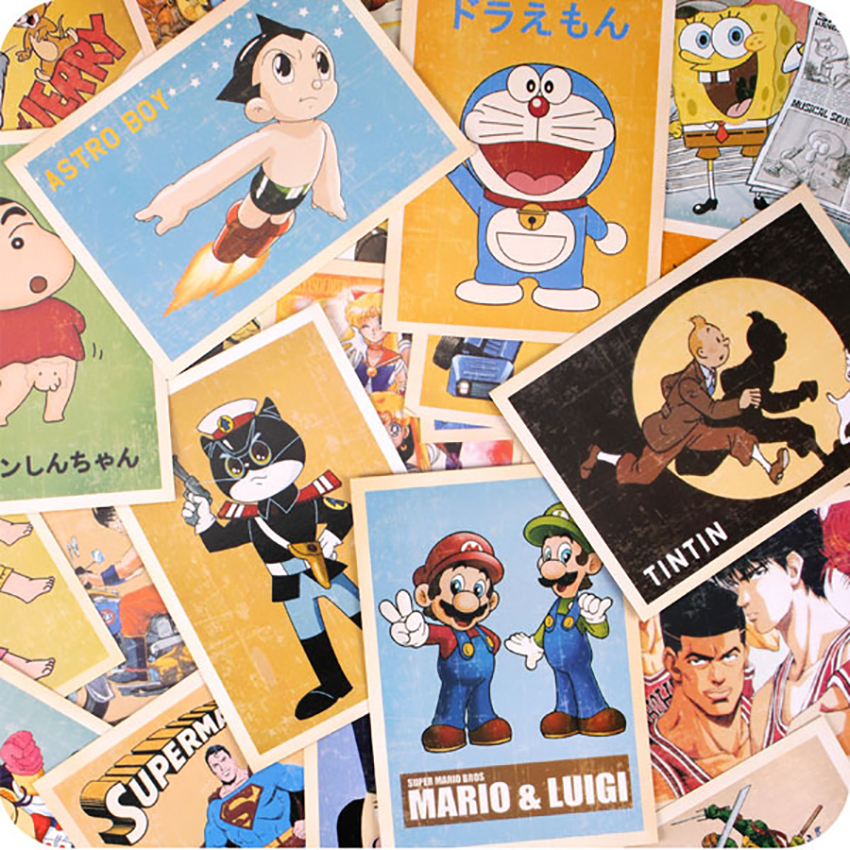 32 Pcs/set Comic Greeting Cards Collector Retro Nostalgia Postcards Cartoon Card  Carte Postale Office School Supplies 10x14cm(China)
