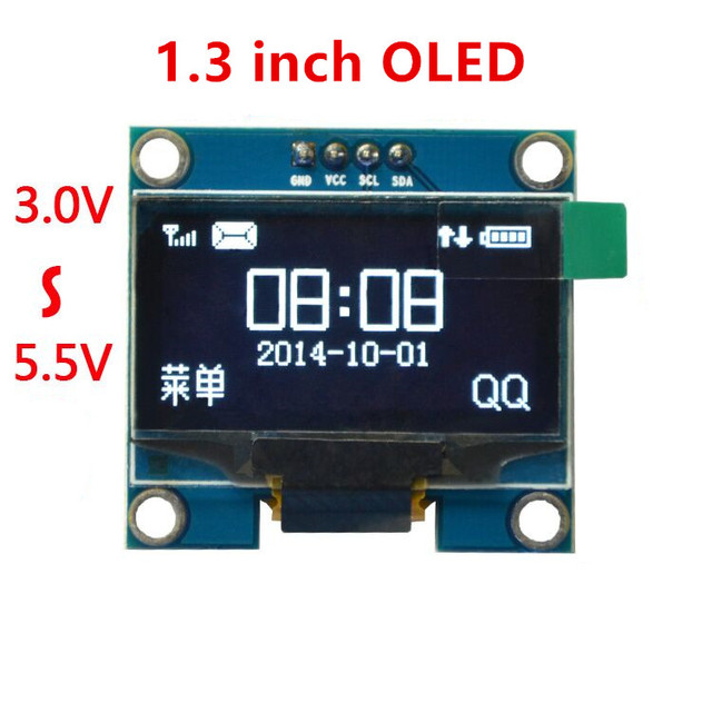 """1PCS 1.3"""" OLED module white and blue color 128X64 1.3 inch OLED LCD LED Display Module For Arduino 1.3"""" IIC Communicate"""