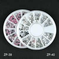 2017 Hot ZP-39/40 2 cores (rosa, claro) 12 formas diferentes Strass Para Gel UV Acrílico Shinning Prego Decoração Arte em Roda