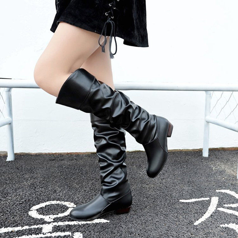De Casual Cuero 2018 Las Invierno Femenino Tamaño Cvt54 white Moda Nueva khaki Del Calzado La Mujeres Black becerro Mediados Zapatos Pu Botas Más wqEnZPSf0x