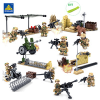 KAZI Military Field Army Soldiers Weapon Action Figures Building Blocks Enlighten Bricks Toys For Children Compatible