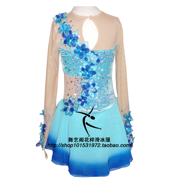 Skating Dress Patterns Blue Ice Skating Clothing Custom Women Ice