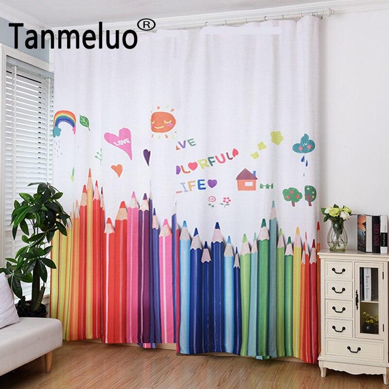 2017 horké prodávat barevné plátěné opony roztomilé tužky dětské záclony na zakázku dokončené okenní opony pro dívky 3D okenní závěsy