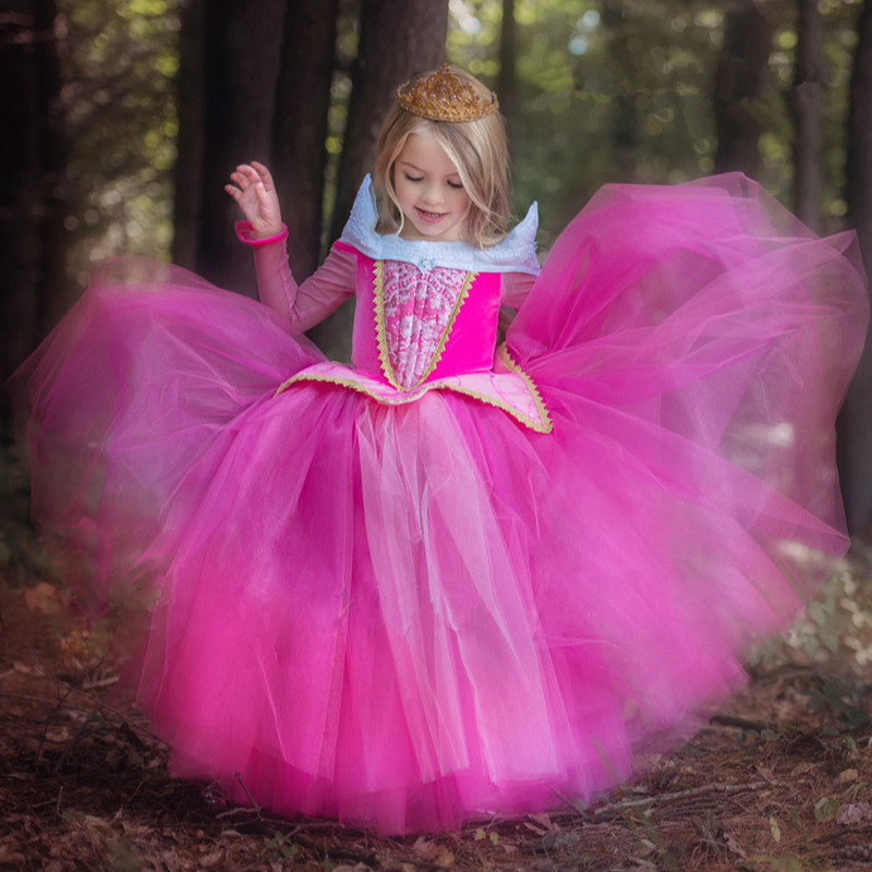 цена на 3-9 Y Kids Clothes Girl Autumn Elegant Aurora Sleeping Beauty Dress Carnival Costumes for Girls Party Princess Dresses GDR126