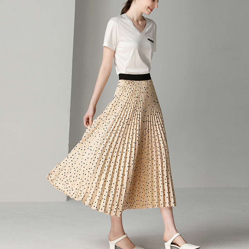 Women's Skirt Spring and Summer Pleated Skirt Black Apricot Dot Print Long Skirt Women's Clothing Pleated Skirt Plus Size 0896 Price $51.88