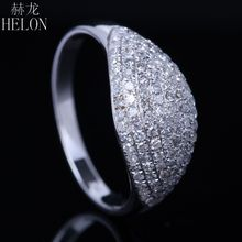 HELON Pave 0.6ct 100% Genuine Natural Diamonds Solid 10k White Gold Engagement Wedding Anniversary Women's Jewelry Ring Band