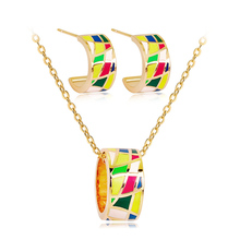 Enamel Color Matching Jewelry Set Abstract Geometric Necklace Costume Party Jewelry for Women Copper Alloy delicate alloy geometric necklace for women