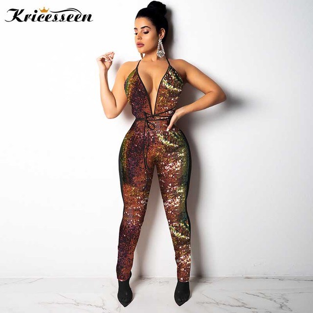 Aliexpresscom Buy Kricesseen Women Sequin Halter Neck Backless
