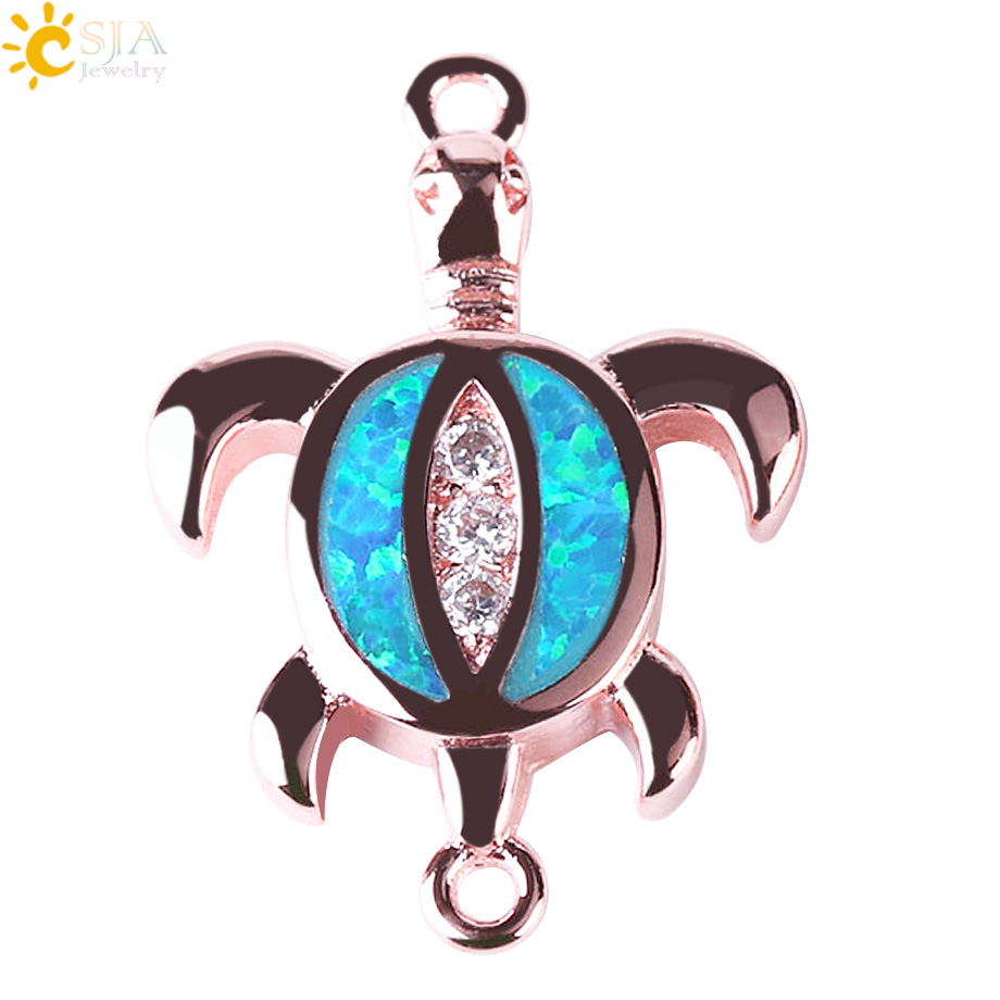 Multi Color Opal Sea Turtle Connector Charm Beads Silver Rose Gold Bracelet