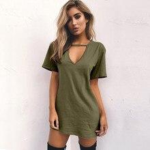 Women Tshirt Dress 2018 Choker V-neck Summer Dresses Short Sleeve ... 8d7ebc110