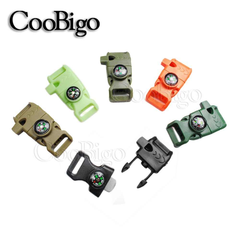 "5pcs 5/8"" Side Release Buckle Whistle Compass Scraper Parachute 550 Cord Paracord Bracelet Outdoor Camp Backpack Survival Kits"
