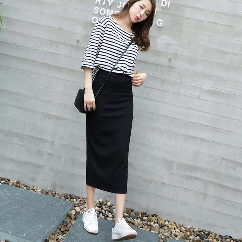 Buy 2016 Brand New Autumn Women Long Skirts Black Package Hip Skirt Korean