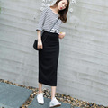 2016 Brand New Autumn Women Long Skirts Black Package Hip Skirt Korean Style Women's Casual Split Skirt Big Size SL0763