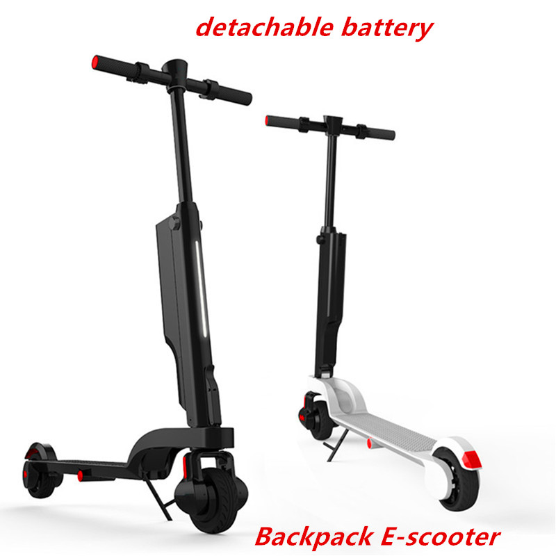 foldable mini backpack portable 250w electric scooter e-scooter with detachable battery ...