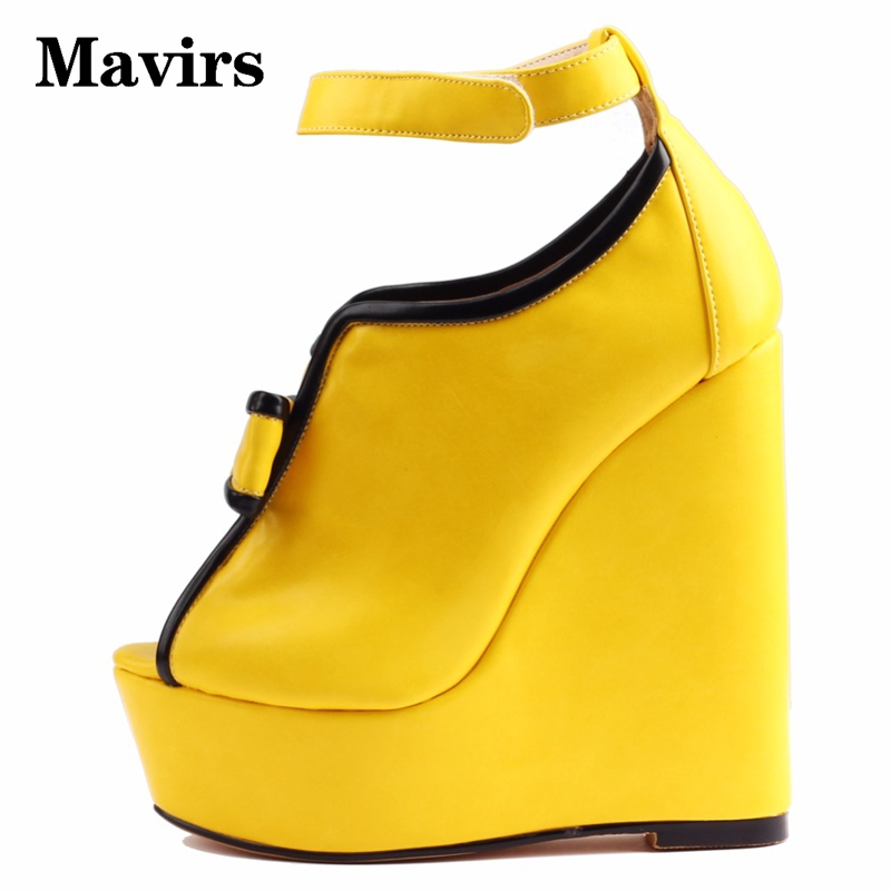 bdd3b817f8 Mavirs Brand Platform Wedges 2018 Summer Yellow High Heels Sandals Women  Wedding Party Shoes Ankle Strap Sandalias US Size 5 15-in High Heels from  Shoes on ...