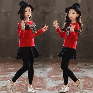 Image 5 - 女の子服セット弓シャツ + レギンス 2 個秋のスーツ冬の子供服カジュアル十代の少女の服 4 6 8 12 年