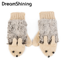 DreamShining Heated Villus Hedgehog Wrist Mittens Winter Gloves for Women Knit Warm Fitness Gloves 5 Colors Girls Cartoon
