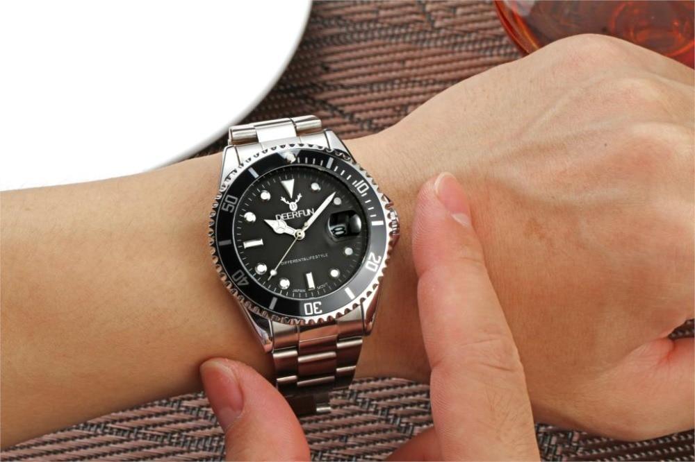 zegarki meskie Zegarek męski DEERFUN marka luksusowa GMT Obrotowa - Męskie zegarki - Zdjęcie 6