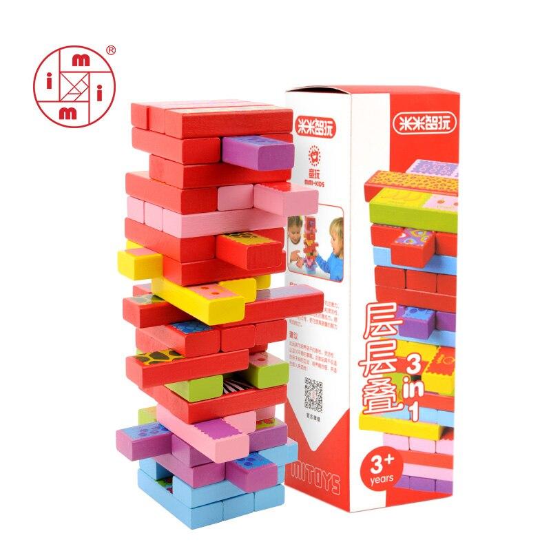 MITOYS 52 pièces 3 en 1 blocs de bois construction tour jouet Domino empileur jeu de société famille/fête drôle extrait blocs de construction