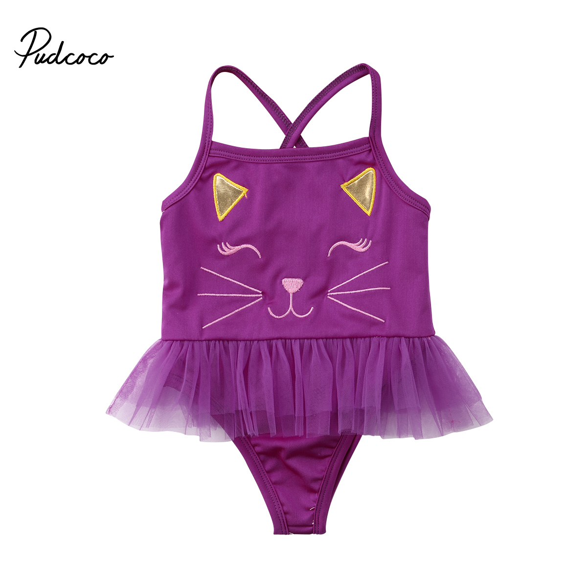 2018 NEW Swimwear Kids Baby Girls Cartoon Cat Tulle One-piece Swimwear Lace Swimsuit Bathing Clothes 1-3T
