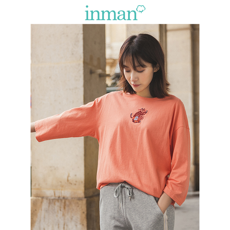 INMAN Spring Autumn O-neck Three Quarter Sleeve Cute Cat Embroidery Casual Cotton Women T-shirt