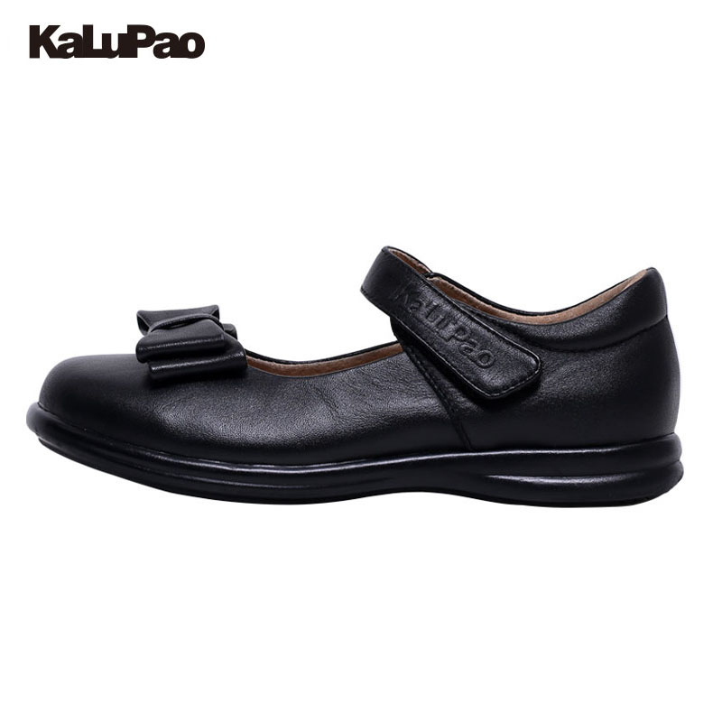 KALUPAO Children School Uniform Shoes Girls Dress Shoes bowtie Black Leather shoes Pretty Comfortable For Kid