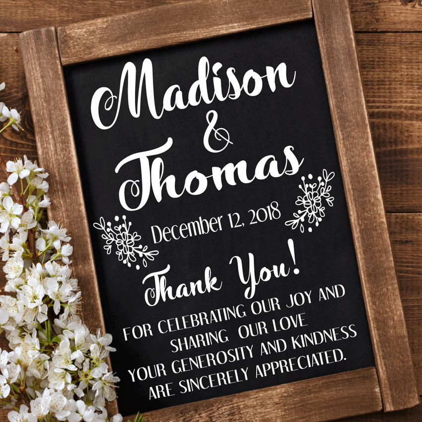 Thank You Wedding Decal Chalkboard Sign Art Wall Stickers Mural Personalized Wedding Decoration Engagement Baptism Decor N100 in Wall Stickers from Home Garden