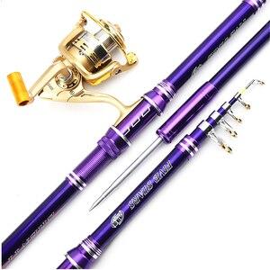 Image 1 - 2019 new design purple 2.1 3.6m hard telescopic spinning fishing rod boat rock stick for bass carp seafishing rod pesca pole
