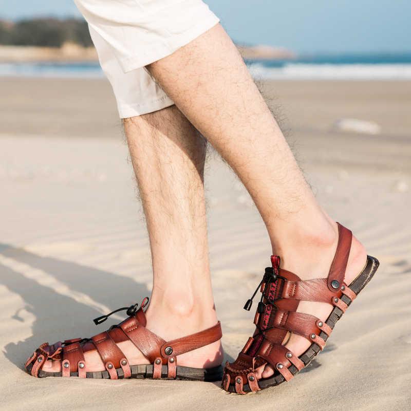 b1601842c ... 2019 New Sandals Men Shoes Closed Toe Khaki Beach Lightweight Slippers  Sandals Plus Size Summer Outdoor