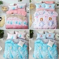 Disney Frozen Elsa Queen Anna Princess Bedding Set Kids Room Cartoon Bed Decor Soft Crystal Velvet Twin Duvet Cover Bed Set
