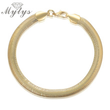 Mytys Herringbone Chain Bracelet for Women Comfortable Light Bracelet Flat Jewelry Gift 2017 New Trendy Gold Color B1059