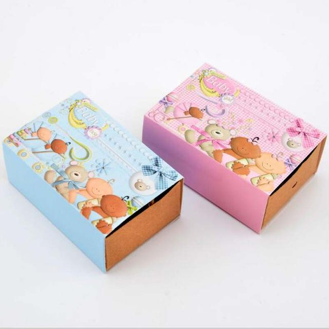50pcs Lot Blue Or Pink Creative Drawer Candy Box Beautiful Birthday Packaging Carton Baby Shower Chocolate Gift