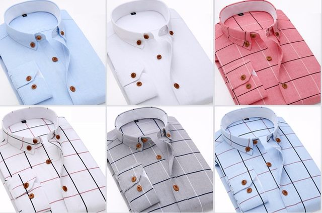 2016 New Oxford Plaid Casual Men's Shirt Slim Fit Formal&Business Occupation Man Shirts Spring Long Sleeve Men Dress Shirt M038 13