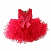 Newborn Baby Infant Baptism Toddler Girl Dress Flower Princess Wedding Party Pageant Fancy TUTU Dress 0