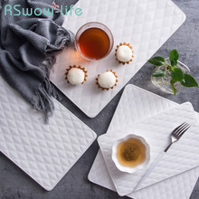 Creative Ceramic Diamond Pattern Western Dish Cake Snack Tray Steak Plate Japanese Sushi Plate Flat Tray For Tableware lototo tableware tausi creative dish tray plate thick round fruit plate ceramic flat white ink