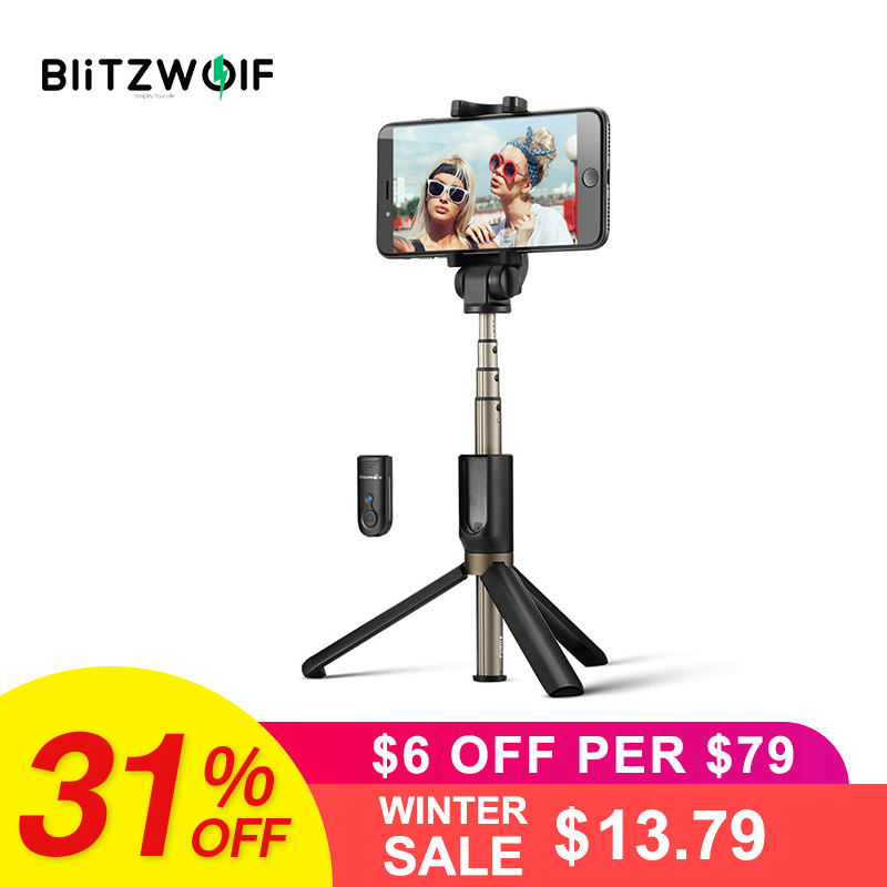 Blitzwolf three In 1 Wi-fi Bluetooth Selfie Stick Mini Tripod Extendable Monopod Common For Iphone Xr X 7 6S Plus For Samsung