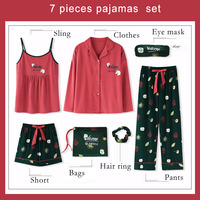 7PCS Japan Sweet Heart Balloon Print Cotton Pajamas Set Cute Women Home Soft Sleepwear Girls Comfortable Nightwear Sets