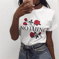 Nothing Letter Print T Shirt Rose Harajuku T Shirt Women 2018 Summer Casual Short Sleeve TShirt